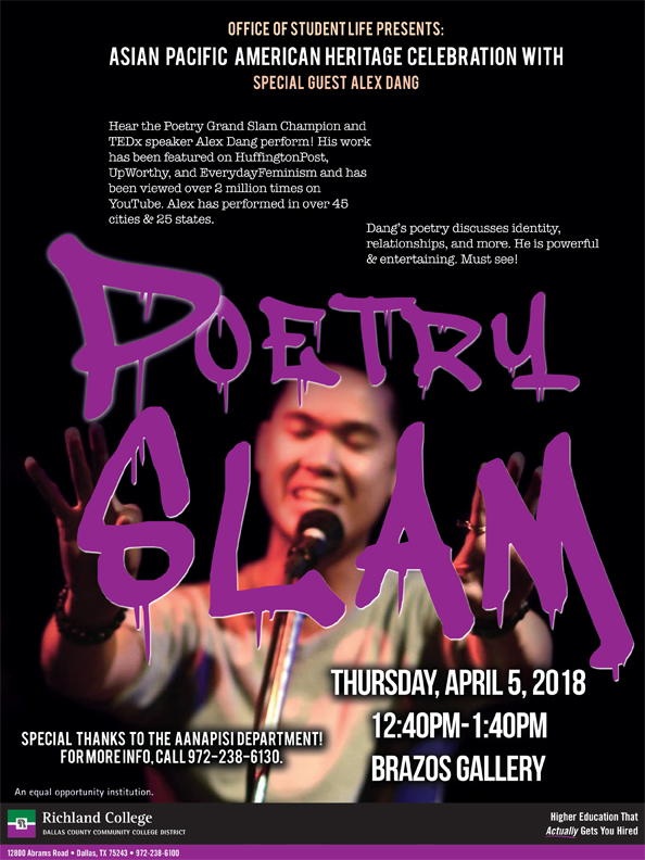 richland college poetry slam with special guest alex dang