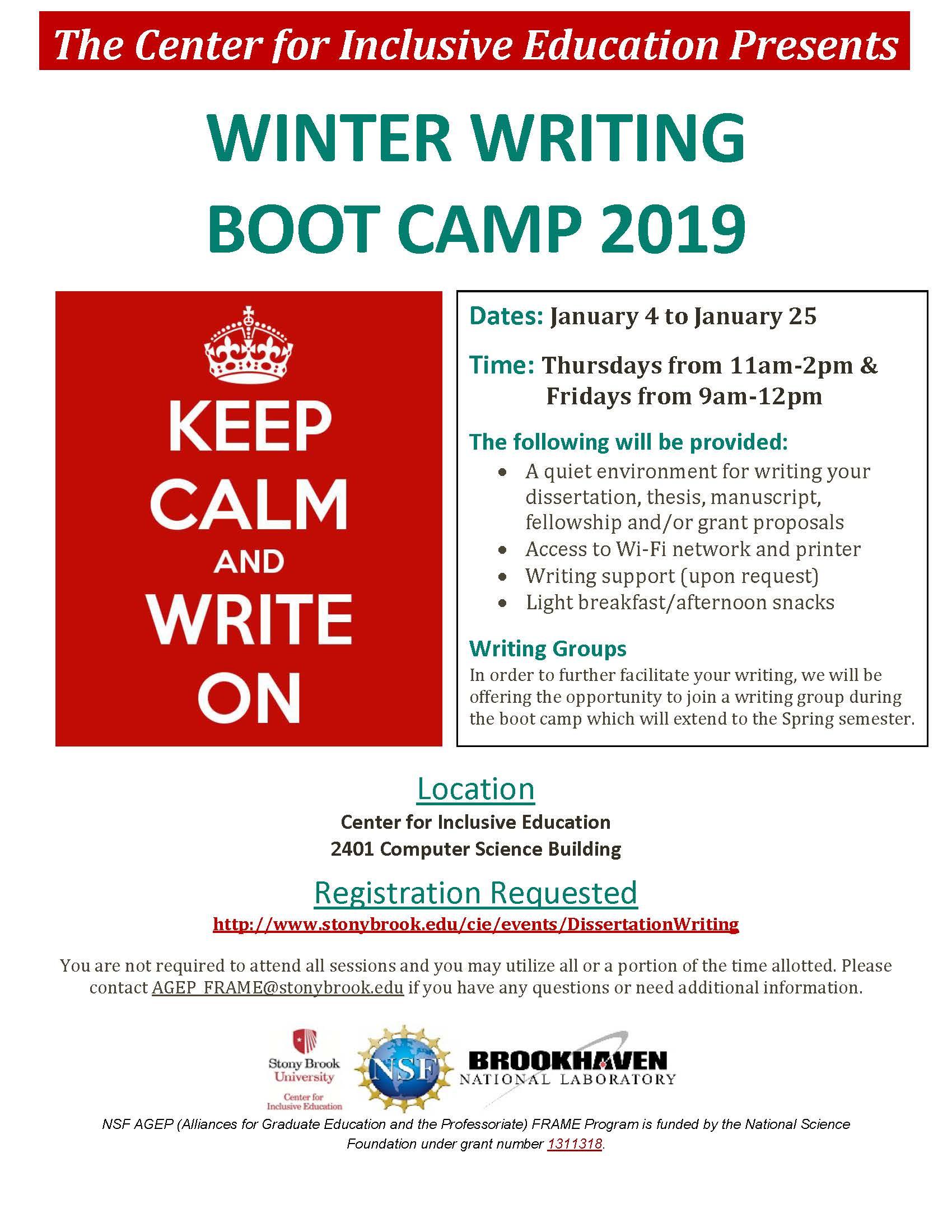 Stony Brook Calendar 2019 Graduate School   CIE Winter Writing Boot Camp 2019