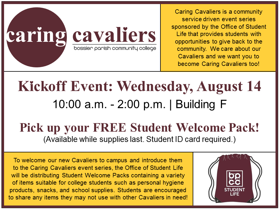 BPCC Events Calendar - Caring Cavaliers: Kickoff Event