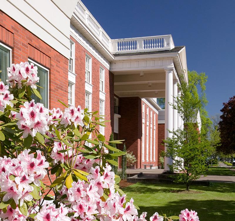 Willamette University College of Law exterior in springtime