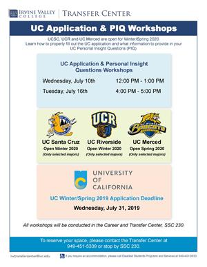 Ucsc 2020 Calendar Irvine Valley College   UC Application & Personal Insight