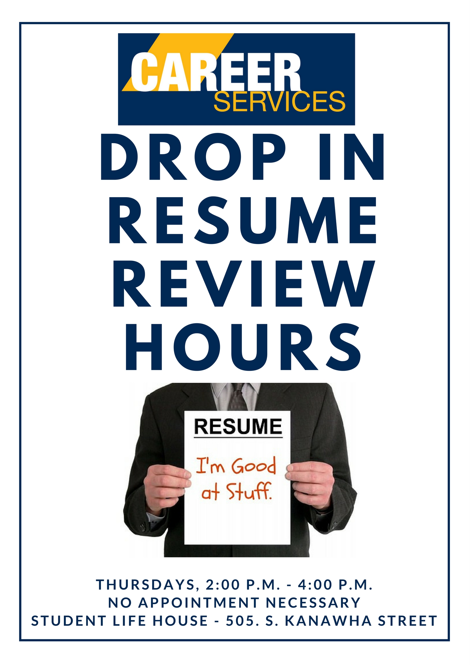 drop in resume review hours 1jpg - Resume Review