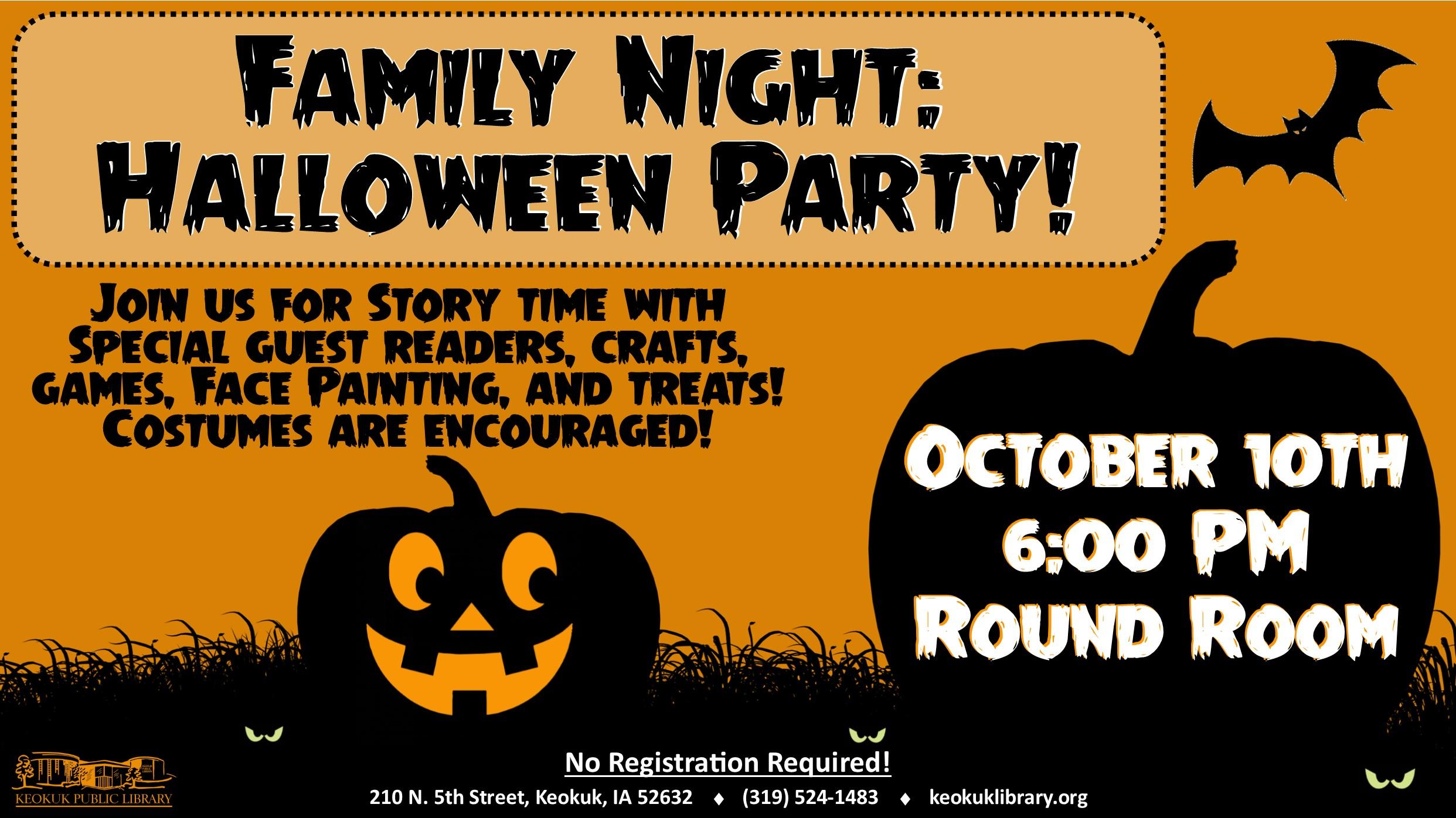 keokuk events family night halloween party