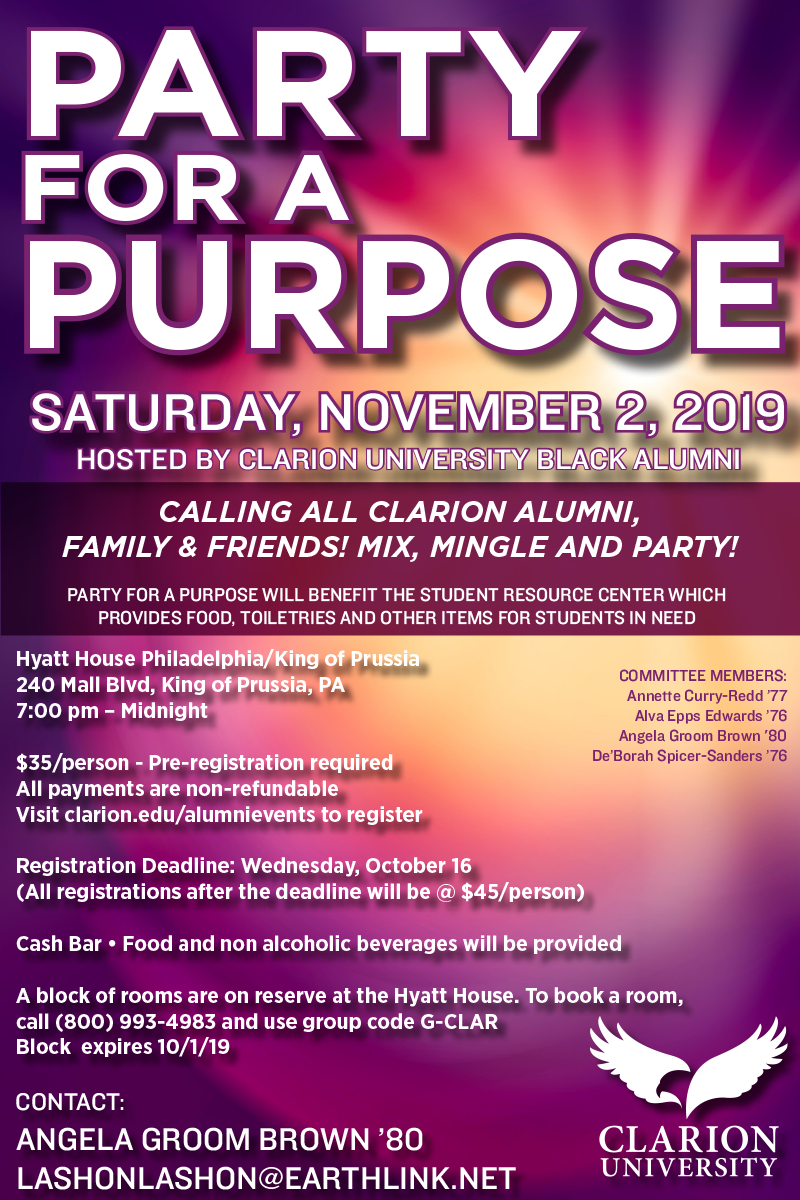 Clarion University - 2019 Party for a Purpose - Hosted by Clarion