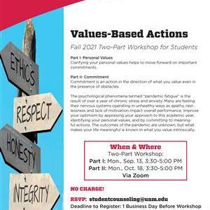Image for: Values-Based Actions Workshop for UNM Students