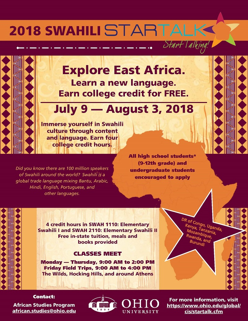 OHIO Calendar of University Events - Swahili STARTALK Summer