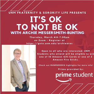 Image for: Fraternity & Sorority Life presents It's OK to Not be OK with Archie Messersmith-Bunting