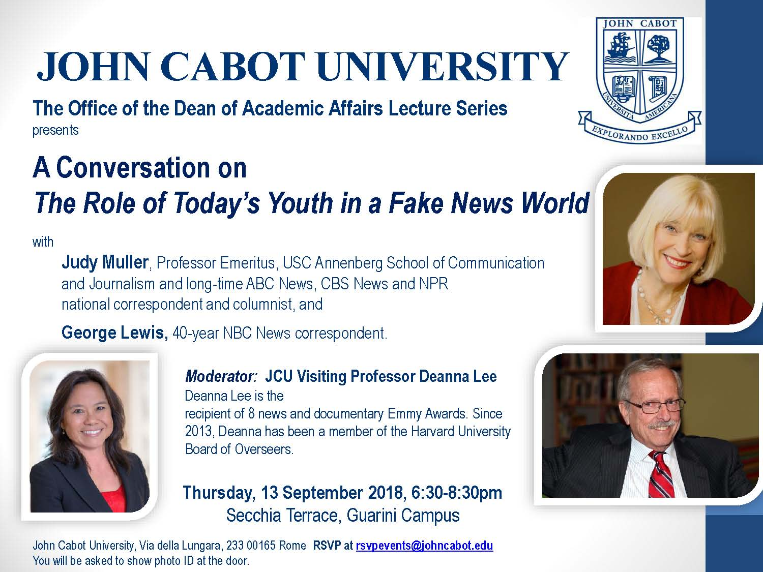 JCU Community Calendar - The Role of Today's Youth in a Fake