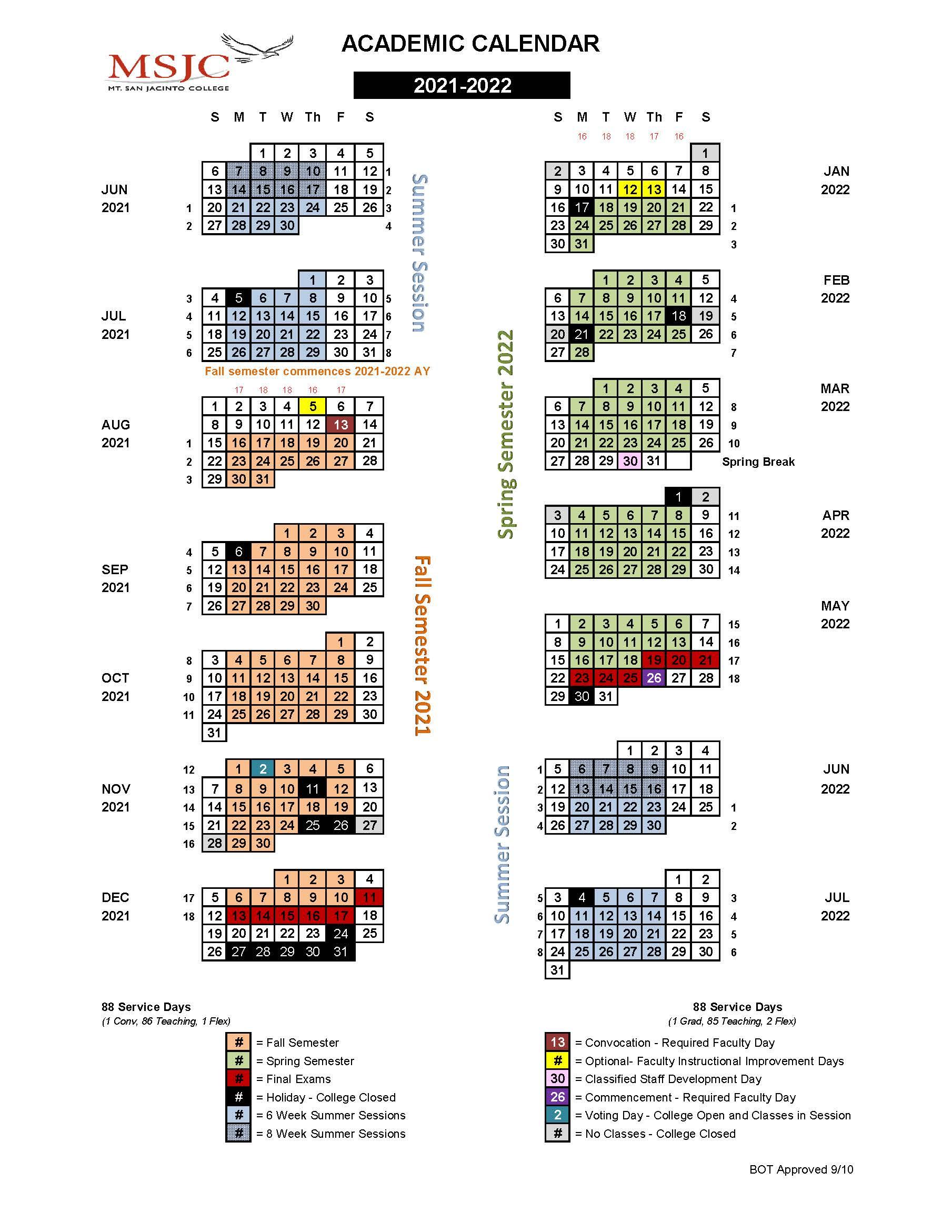 MSJC Events   2021 2022 Academic Calendar is now available