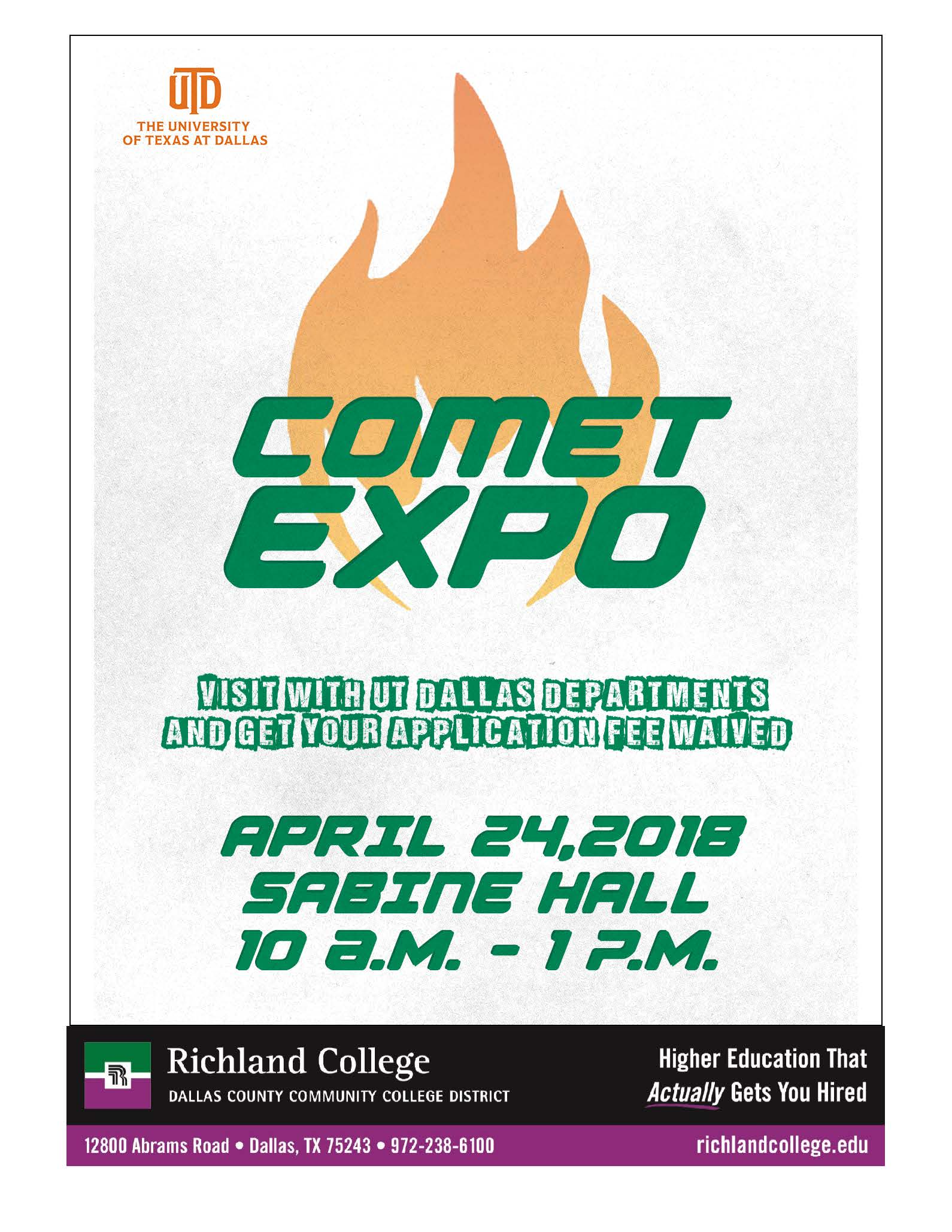 Richland College - UTD Comet Expo - Free Application Day on palmetto richland hospital map, richland college catalog, richland community college map, richland college history, richland city map, richland college dallas tx, richland decatur illinois, richland memorial hospital map, richland college field map,