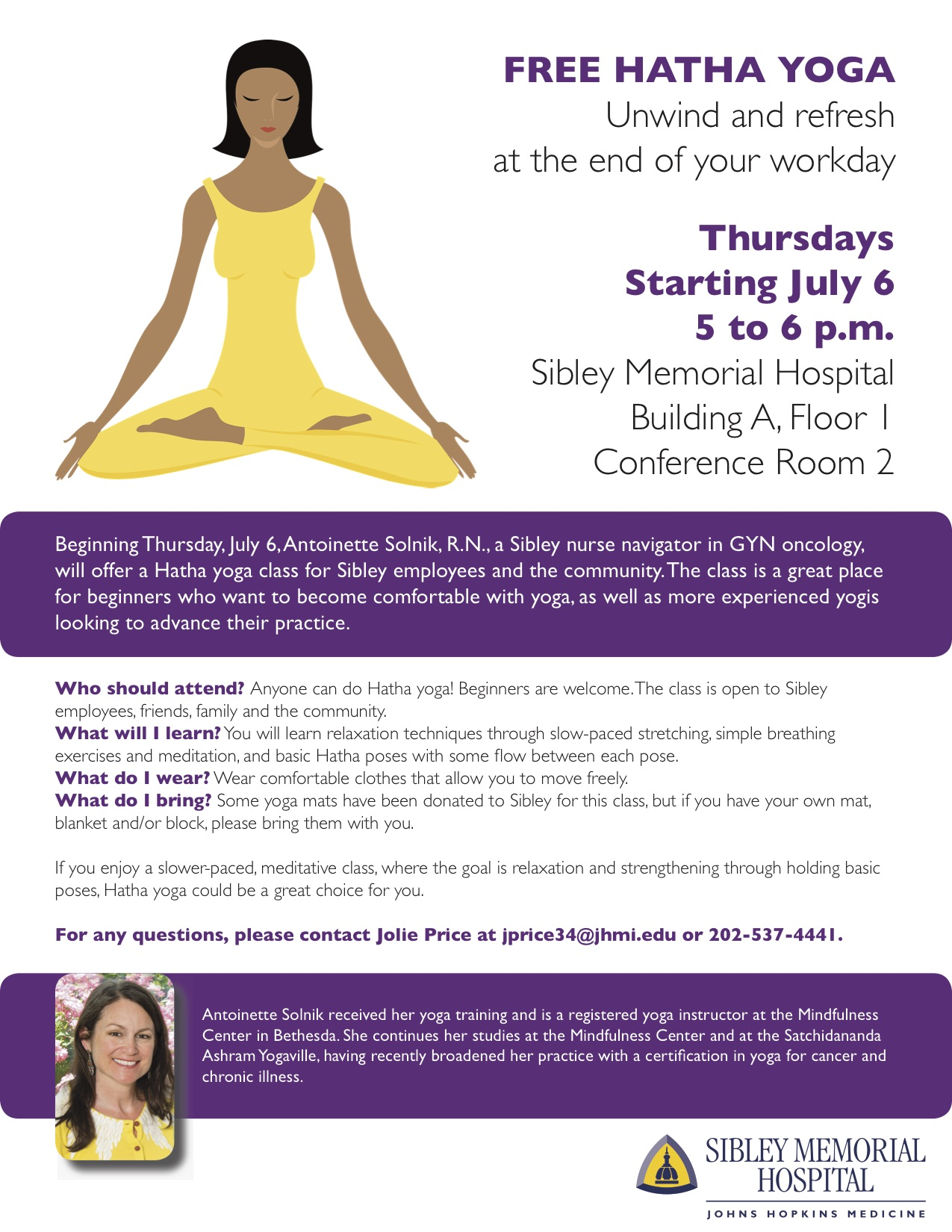 Hatha Yoga Flier Beginning Thursday