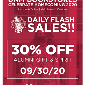 Image for: UNM Bookstores Homecoming Flash Sales: 30% OFF UNM Alumni Gear