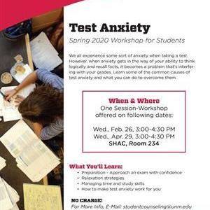 Image for: Test Anxiety Workshop for Students