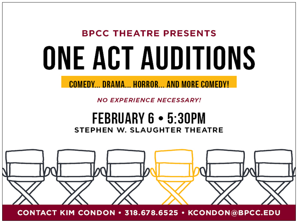 BPCC Events Calendar - Spring Festival of One-Act Plays Auditions