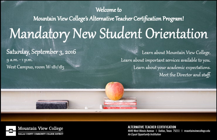 Mountain View College Alternative Teacher Certification Orientation