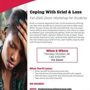 Image for: Coping With Grief & Loss - Zoom Workshop for Students