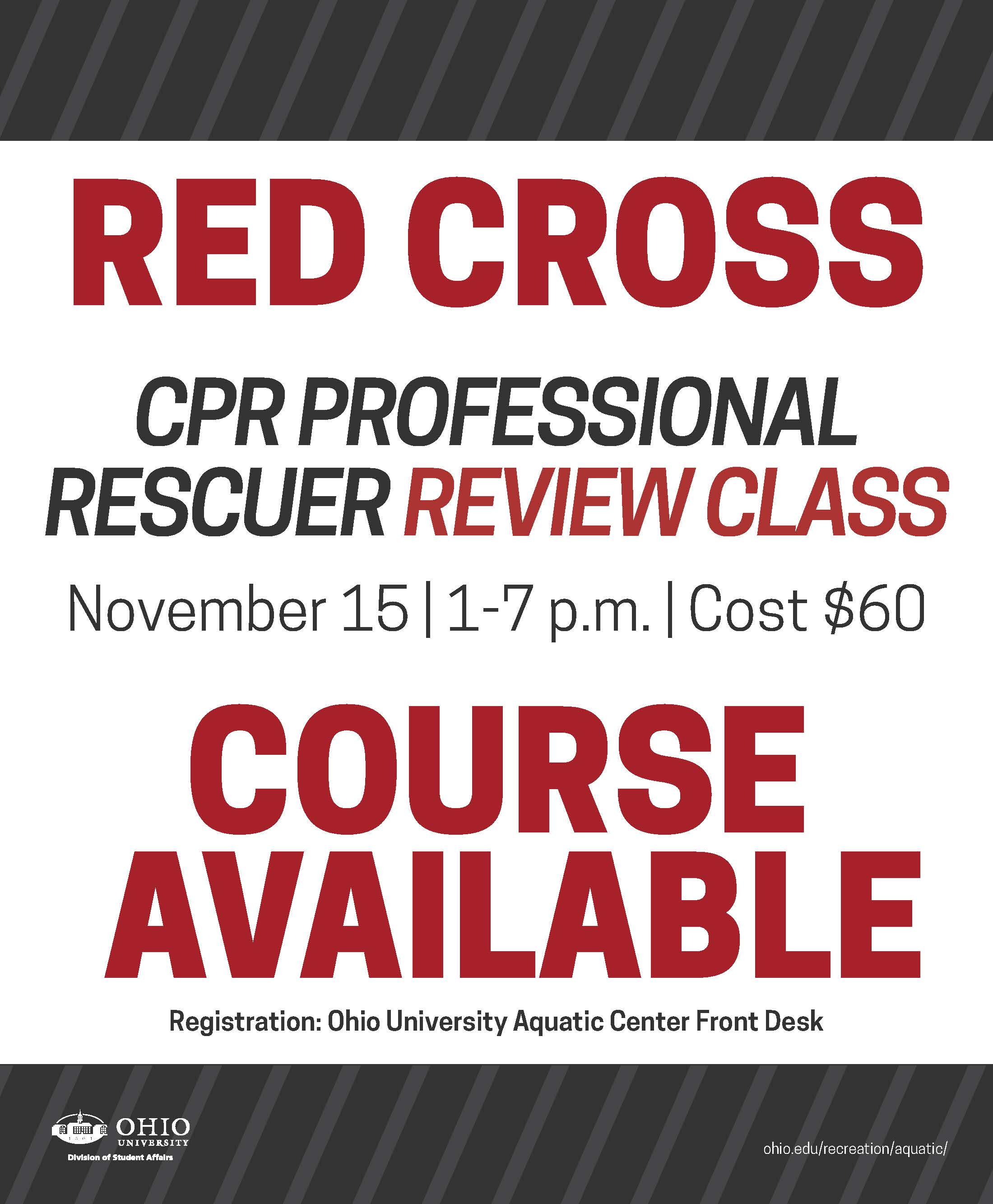 Ohio Calendar Of University Events Red Cross Cpr Professional